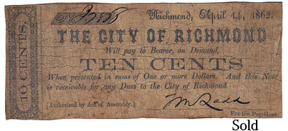 1862 10 Cent Richmond Virginia Fractional Currency