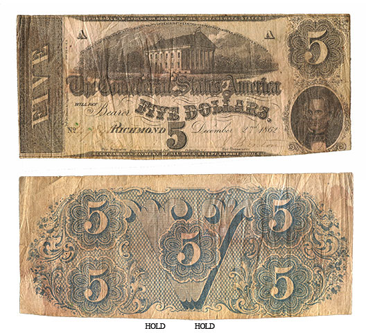 Civil War 1862 Richmond Confederate $5 Dollar V Back Note