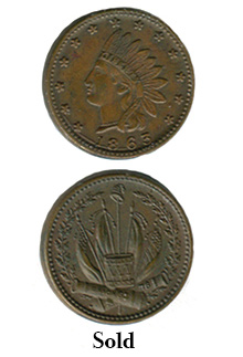 1863 Indian Head Token Coin