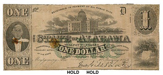 $1 Alabama Note Printed January 1st 1863