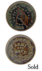 1863 Army Navy The Flag of Our Union token