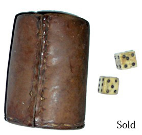 Civil War Leather Dice Cup And Pair Of Bone Dice