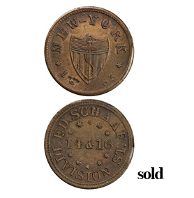 1863 U.S. CIVIL WAR TOKEN, ED SCHAAF, DIVISION ST. NEW YORK, NY