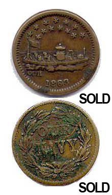 1863 Merrimac Civil War Token